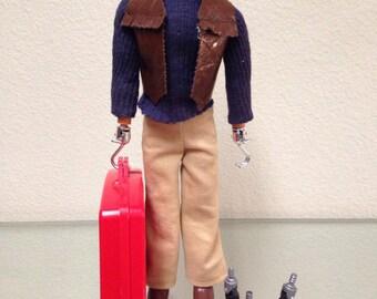 J J Armes Action Figure with Suitcase & Attachments