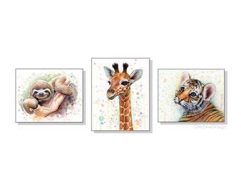 Safari Nursery Art Print Set Baby Animals Watercolor Wall Art Nursery Decor Animal Watercolor Set of 3 Prints, Sloth Giraffe Tiger Cub