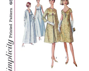 1965 Formal Dress and Coat Sewing Patterns - Size 12 Bust 32 - Simplicity 6219 - Sweetheart neckline, Back zipper, Darts, Retro, 1960s