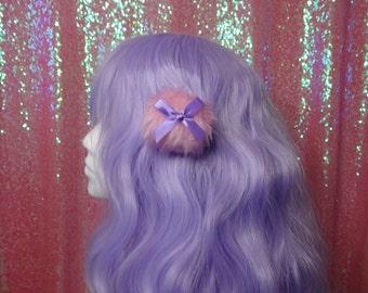 Kawaii Larme Single Pink Powder Puff Hair Clip Purple Bow Faux Fur