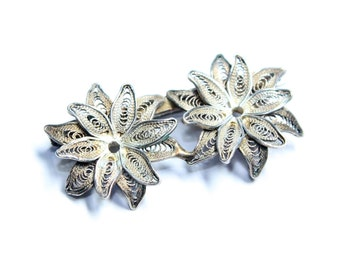 Continental Silver (800) Filigree Flowers Duo Edelweiss Vintage Brooch (c1930s)