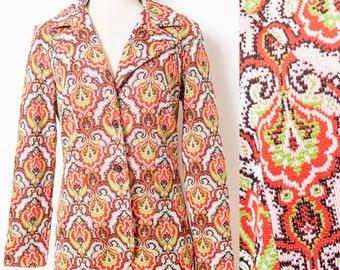 vintage 70s jacket,  Vintage Orange jacket, 70s orange jacket, Boho jacket, 70s bohemian jacket, 70s Hippie jacket,vintage blazer