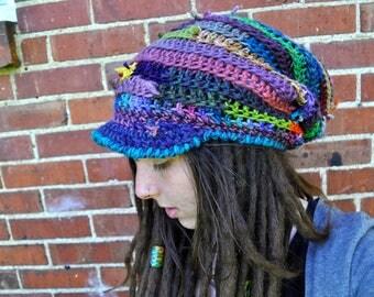 Scrappy Spiral Slouchy Hat with Bill // Ooak Handmade Dreadlock Tam