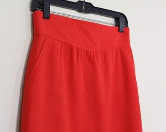 Sassy ESCADA Statement Skirt || Bold Red-Orange || Escada by Margaretha Ley || 1980s || Size 8