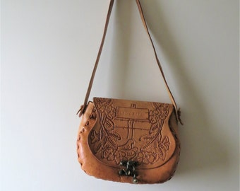 """70s Tooled Leather Satchel """"Claudette"""" Pheasants and Floral Nature Print"""