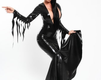 Latex Long Mermaid Morticia Dress