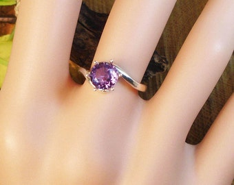 Alexandrite Ring, June Birthstone, Solid Sterling Silver, 2.20Cts Facet 7.10 mm Natural Alexandrite Color Changing Gem