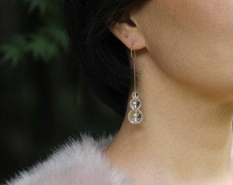 Clear Quartz Dangle Earrings - 14K Gold Fill