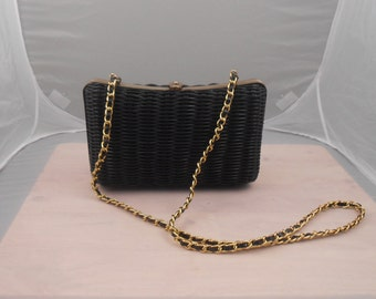 Women's Black Clutch Handbag -  Women's Pocketbook  - Patent Leather Clutch Bag -  1970s - Free Us Shipping