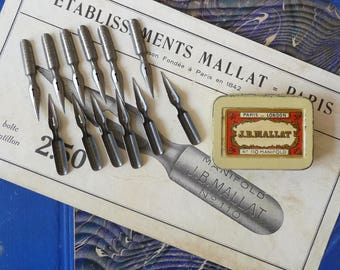 French Pen Nibs Box J.B Mallat Nibs #110 Manifold Paris London Calligraphy 12 nibs and Yellow-Creamy Lithographed Tin Box Collectibles