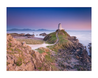 Tŵr Mawr Lighthouse, Anglesey. Landscape Dusky Twilight Print. Home Decor