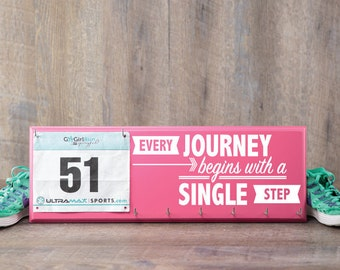 Running medal holder and race bib hanger - every journey begins with a single step