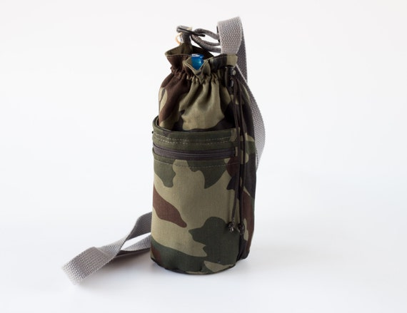 Camouflage Water Bottle Holder with Pocket, Cross Body Water Bottle Carrier, Camo, Green,  Gray, and Brown Cotton Fabrics, Handmade
