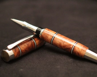 Exclusive Texas Mesquite Pickguard Accents with Gold Accents/Titanium Rollerball Pen by Swamphouse Woodworks
