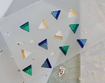 Engraved Mini Triangle Stud Earrings: Summer Brights. Laser Cut Engraved Geometric. Acrylic Perspex Laser Etched Studs Blue Green Iridescent