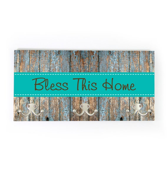 Bless This Home Personalized Coat Rack Wall Coat Rack Wedding Gift Coat Hanger Wall Mount Rustic Personalized Housewarming Gift New Home