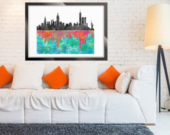 New York Skyline, NYC watercolor print, Wall Art, Colorful Skyline, Cityscape print, Manhattan Skyline, NYC Painting Home Decor Art Prints