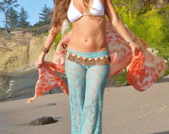 SEA MIST CROCHET lace boho 70's  beach yoga  resort festival palazzo gypsy hippie bell bottom pants with shorts liner (optional)