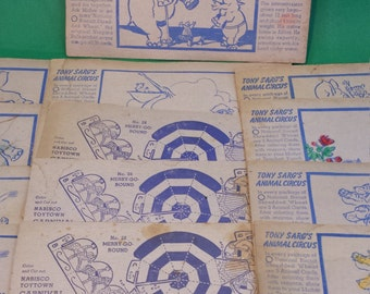 30s Nabisco Circus cards Tony Sarg's Shredded Wheat cereal premium animals lot nursery crafting upcycle set of