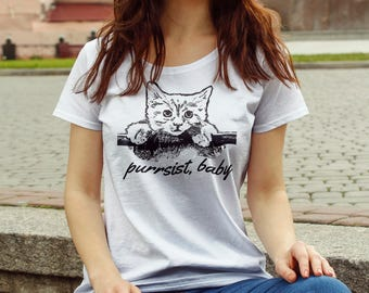 "Feminist TShirt: ""Purrsist, Baby"" Fourth Wave Feminist Apparel (multiple colors) Elizabeth Warren, we stand with you!"