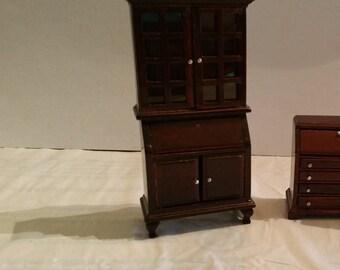 Miniature, Dollhouse, Dark Wood, Hutch, Curio, Bookcase, Cabinet, w/Working Doors and 2 Clear Shelves, Diorama, Dolls,