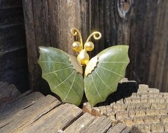 Vintage Gold Wire Jade Butterfly Brooch