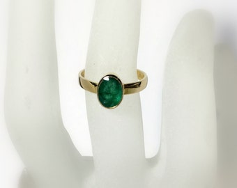 Emerald Ring 14k Gold, Birthstone Ring, Genuine Emerald Gemstone, wide band, low profile, Ready to Ship, Size 6