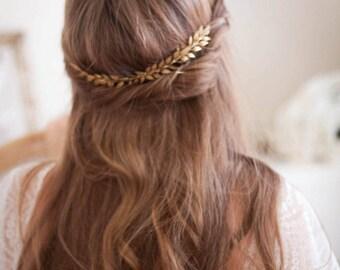 Edwardian Leaf Comb, gold leaf comb, silver bridal comb, gold leaf comb, boho, bridal hair piece, bridal hair comb, bridal comb #203