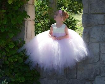 Flower girl dress - Tulle flower girl dress - Ivory Dress - Tulle dress-Infant/Toddler - Pageant dress - Princess dress - Pink flower dress