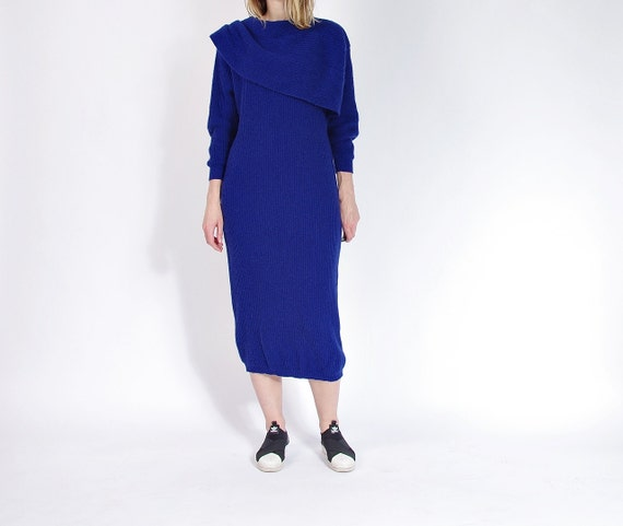 SALE! 80s Fuzzy fluffy wool angora indigo women midi dress / size M/L