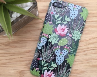 Succulent Phone Case, iPhone 7 Plus, 7, 6s, 5s, 5C, SE, iPhone 8, Samsung Galaxy S7 Edge, S6, S5, S4, Clear TPU, Cute Cactus, Gifts for Her