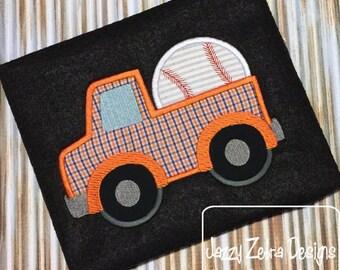 Truck with Baseball Appliqué Embroidery Design - truck appliqué design - baseball appliqué design - boy appliqué design