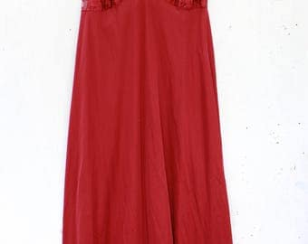 Large | Deep Red Full Length Night Gown with Lace, Rose, and Criss Cross Straps