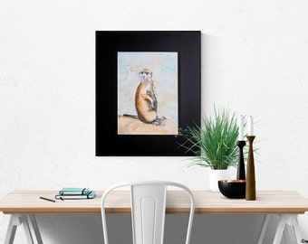 Edmännchen image size framed art gift Africa, watercolor, painting Meercat, Mongoose gift, Meerkat picture hand painted, Suricata suricatta