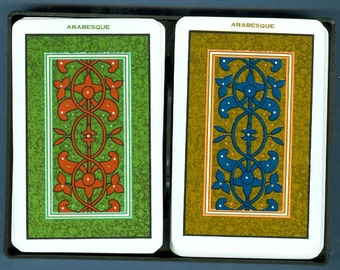 1996 KEM Poker Playing Cards Arabesque Two Deck Set - Vintage KEM Plastic Playing Cards
