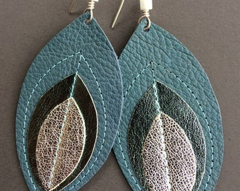 Mixed fabric and leather statement earrings
