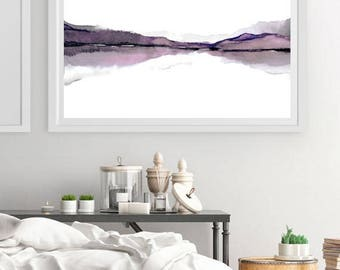 X Large Print Art,Large Wall Art Abstract Landscape Watercolor Painting,Watercolor Print Art, Water Painting,Mauve  Purple 30x18 inches