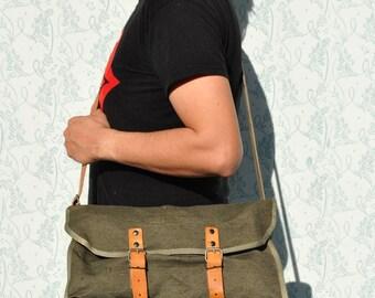 Messenger bag, mens messenger bag, back to school bag, leather canvas messenger, army bag, green army bag, canvas leather army bag