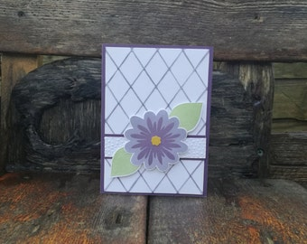 Happy Blooming Birthday, Floral, Flower, Leaves, Leaf, Quilt, Glitter, Blooms, B'day, Purple, Green, White, Spring, Embossed, Fresh