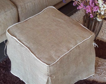 READY TO SHIP - Sale - Burlap Ottoman Slipcover - Burlap Ottoman Cover - Ottoman Cover - Slipcover  - Rustic Decor - Last Remaining