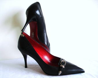50% SALE NIB Cesare Paciotti Italy genuine black leather high heels, red sole shoes pumps stilettoes, never worn size 36.5 Italian 6.5 US
