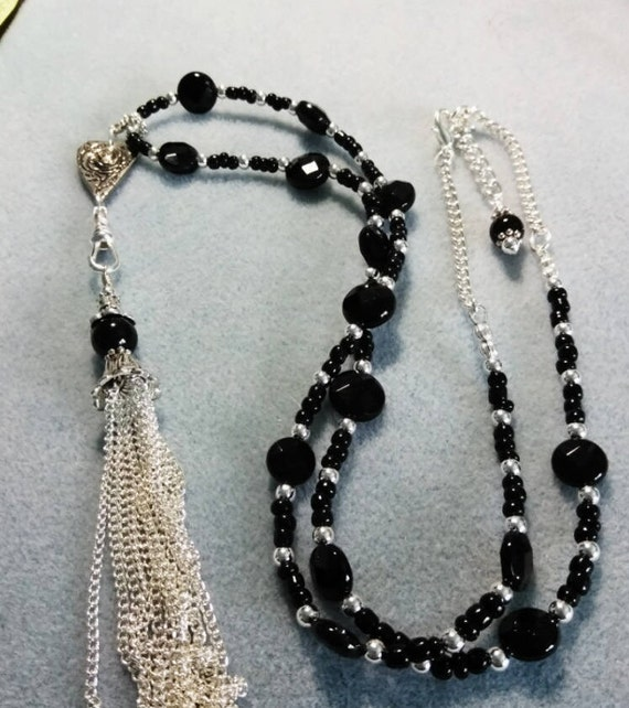 Black Onyx Heart Lanyard With Detachable Tassel B6151752