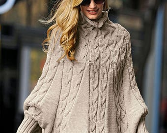 Knitted Poncho,winter poncho,alpaca poncho,spring poncho Made to order