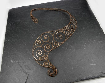 Necklace Sculpture  Spirals Arabesques in Copper wire