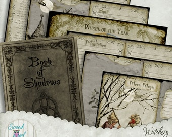 Grimoire Pages, Book of Shadows, Wheel of the Year Calendar, Printable Journal Pages, Digital Paper Craft Supplies - 'Witchery'