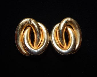 Vintage Gold Loop Earrings Large Double Loop Hollow Pierced Stud Statement Earrings
