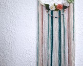 10''  Floral dreamcatcher, pink, green and beige bohemian wall decor, boho wall hanging decoration, synthetic flowers, beads and yarn