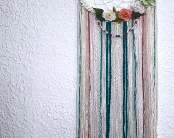 Floral dreamcatcher, pink green and beige bohemian wall decor, boho wall hanging decoration, wedding dreamcatcher, boho  dreamcatcher