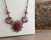 Plum dahlia flower necklace, Burgundy marsala necklace, Vintage style necklace, Fall jewelry, Glass dome necklace, Bridesmaid gift SJ 089