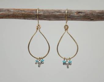 Turquoise and brass, teardrop hoop earrings, december birthstone, gold hoop earrings, dangly hoops, secret santa for her, ooak, handmade